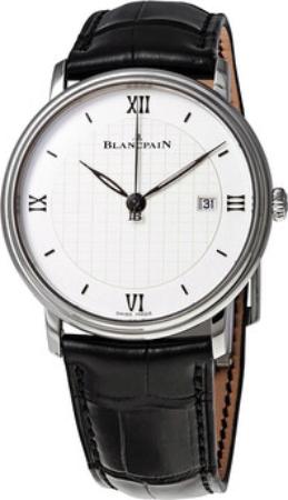 Blancpain Villeret Herreklokke 6651-1143-55B Sølvfarget/Lær Ø40 mm - Blancpain