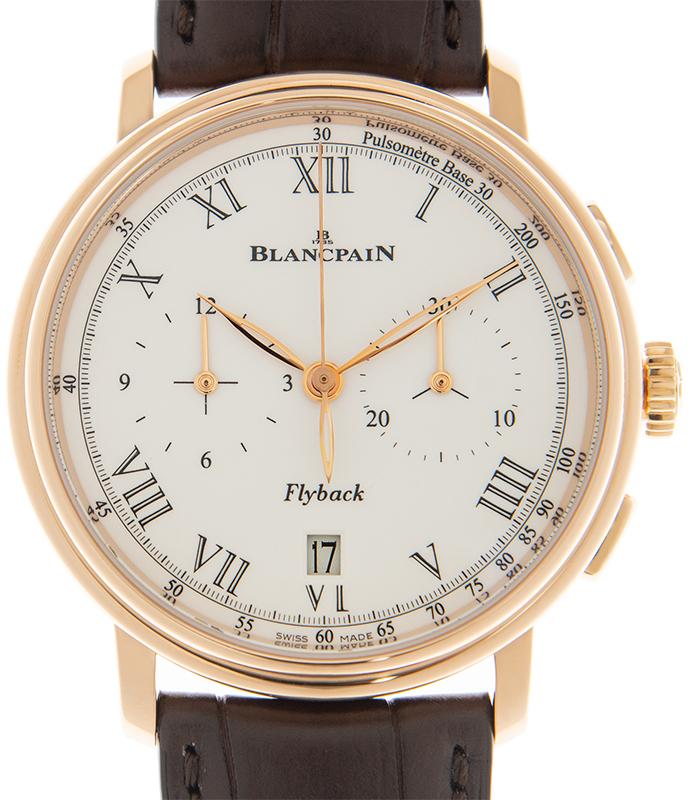 Blancpain Villeret Herreklokke 6680F-3631-55B Hvit/Lær Ø43.6 mm - Blancpain