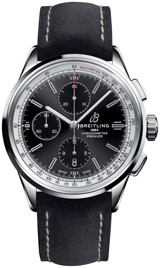 Breitling Premier Chronograph 42 Herreklokke A13315351B1X2 Sort/Lær - Breitling