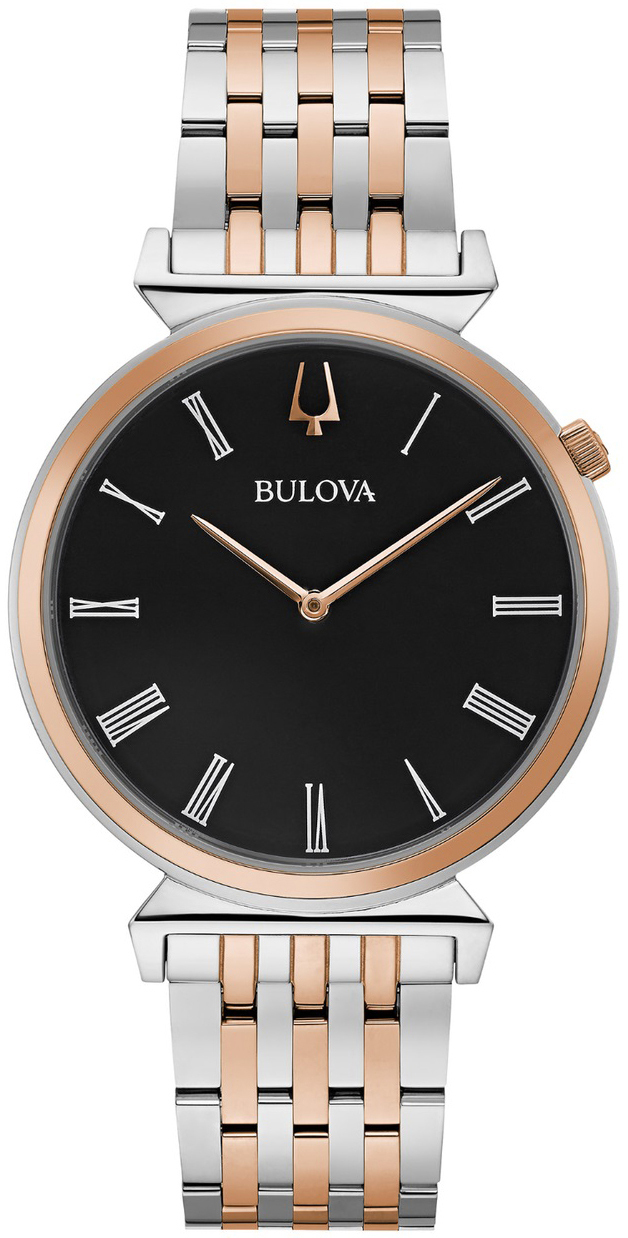 Bulova Classic Herreklokke 98A234 Sort/Rose-gulltonet stål Ø38 mm - Bulova