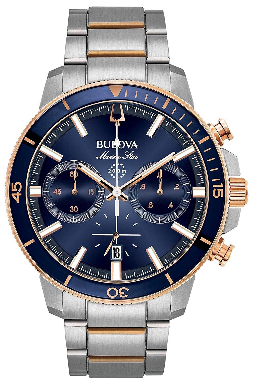 Bulova Herreklokke 98B301 Blå/Rose-gulltonet stål Ø45 mm - Bulova