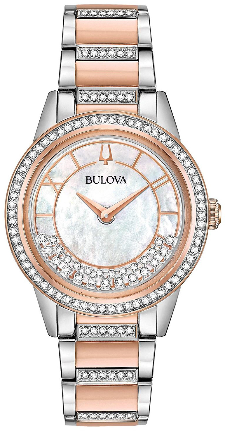 Bulova Crystal Dameklokke 98L246 Hvit/Rose-gulltonet stål Ø32.5 mm - Bulova