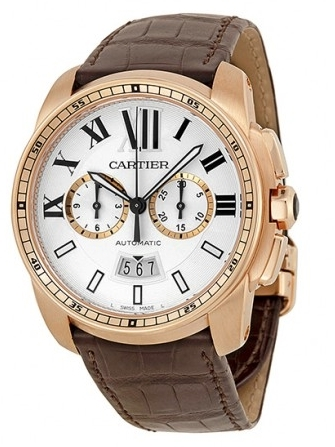 Cartier Calibre de Cartier Herreklokke W7100044 Sølvfarget/Lær Ø42 - Cartier