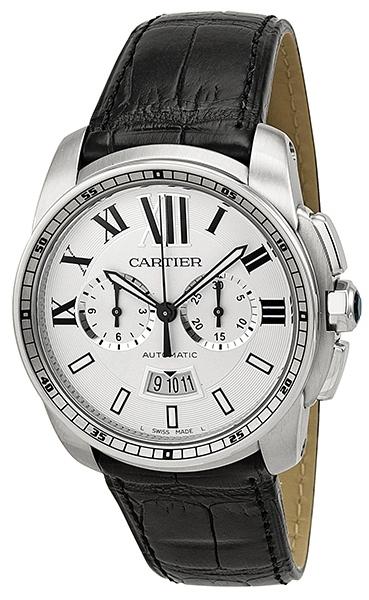 Cartier Calibre de Cartier Herreklokke W7100046 Sølvfarget/Lær Ø42 - Cartier