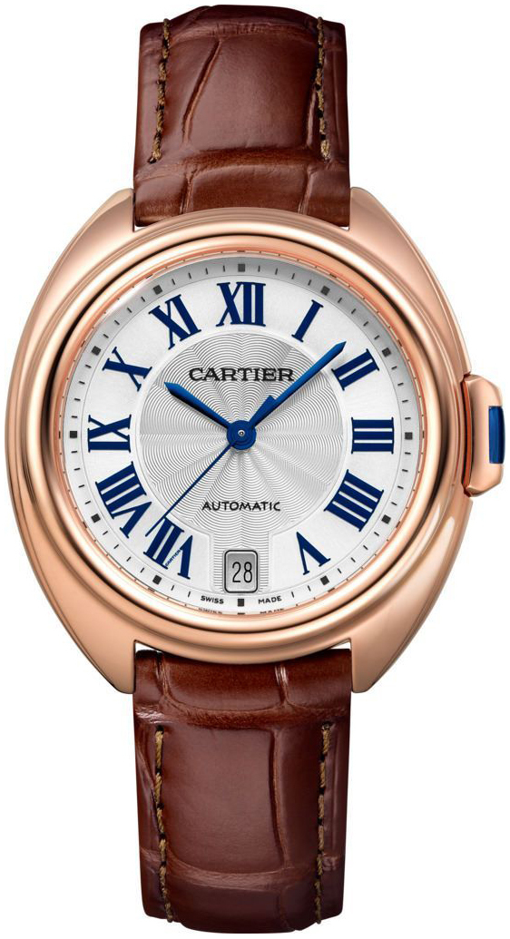 Cartier Cle De Cartier Dameklokke WGCL0013 Sølvfarget/Lær Ø35 mm - Cartier