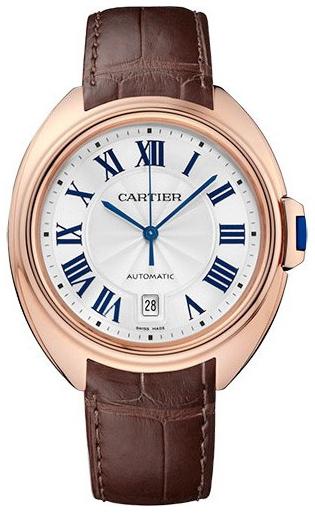 Cartier Cle De Cartier Herreklokke WGCL0019 Sølvfarget/Lær Ø40 mm - Cartier