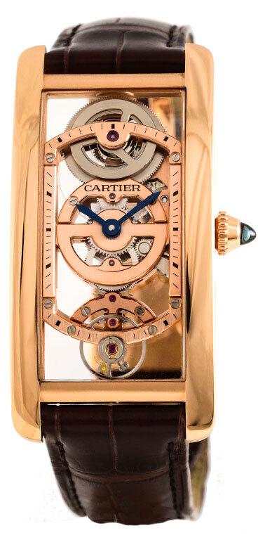 Cartier Tank Cintree Herreklokke WHTA0008 Skjelettkuttet/Lær - Cartier
