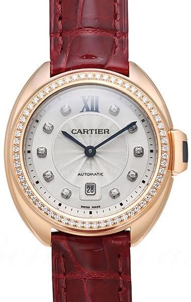 Cartier Cle De Cartier Dameklokke WJCL0038 Sølvfarget/Lær Ø31 mm - Cartier