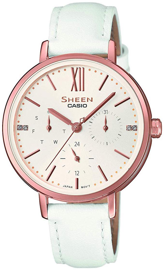 Casio Sheen Dameklokke SHE-3064PGL-7AUER Hvit/Lær Ø36 mm - Casio