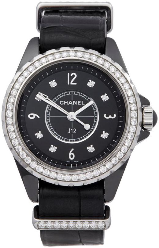 Chanel J12 Dameklokke H4189 Sort/Kledt i diamant Ø33 mm - Chanel