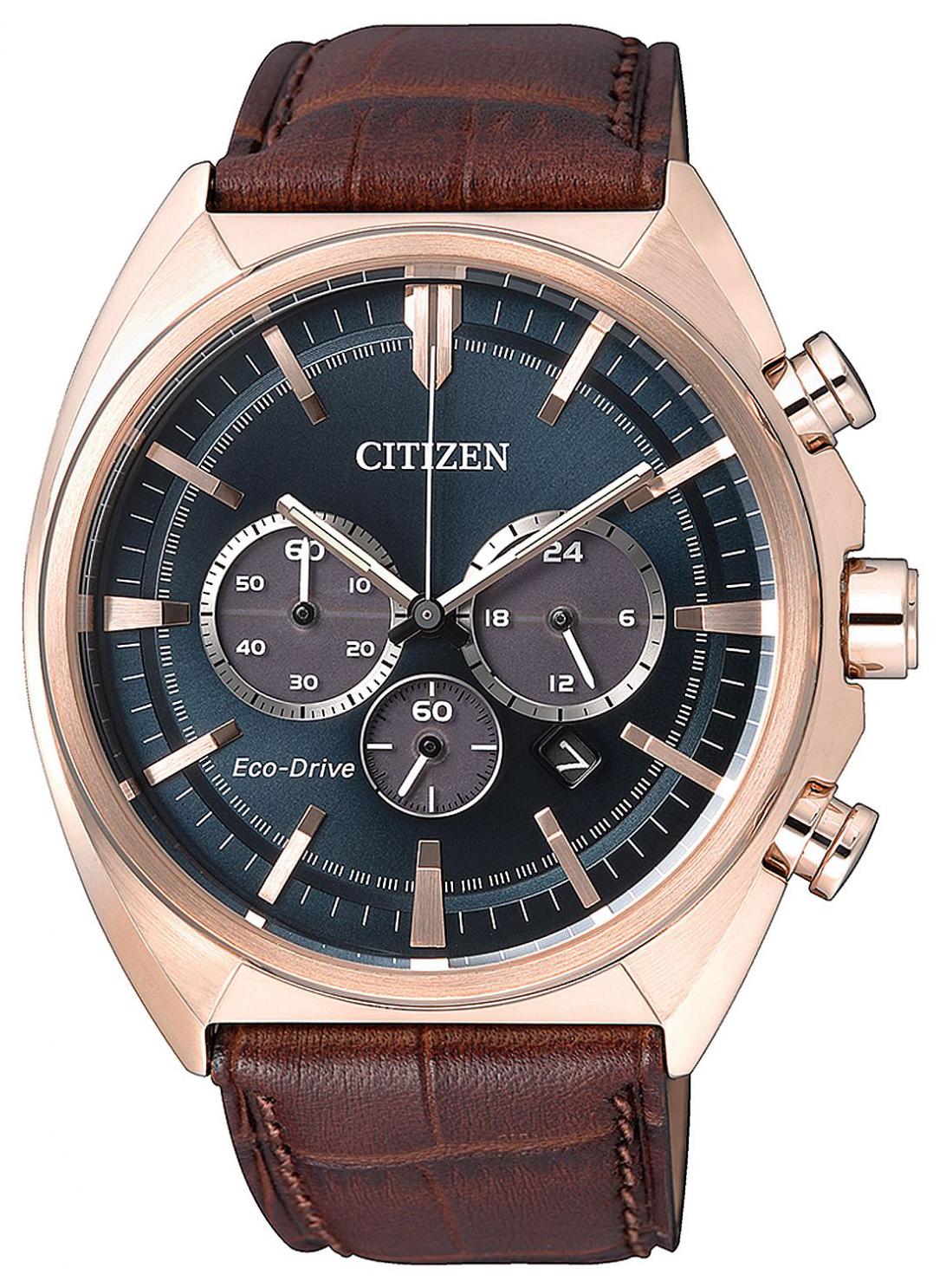 Citizen Chrono Herreklokke CA4283-04L Blå/Lær Ø43 mm - Citizen