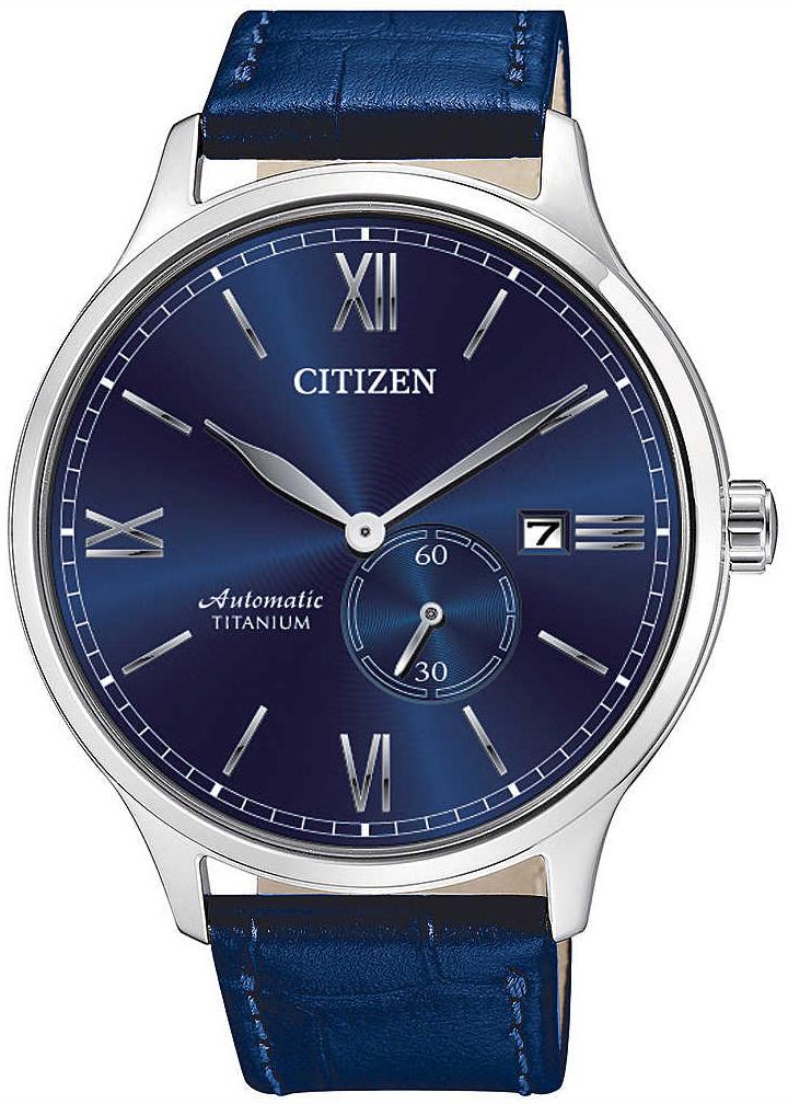 Citizen Titanium Herreklokke NJ0090-48L Blå/Lær Ø42 mm - Citizen