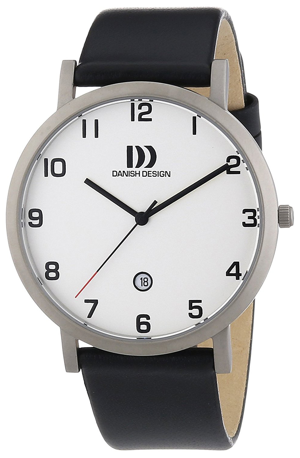 Danish Design Classic Herreklokke 3316328 Hvit/Lær Ø40 mm - Danish Design