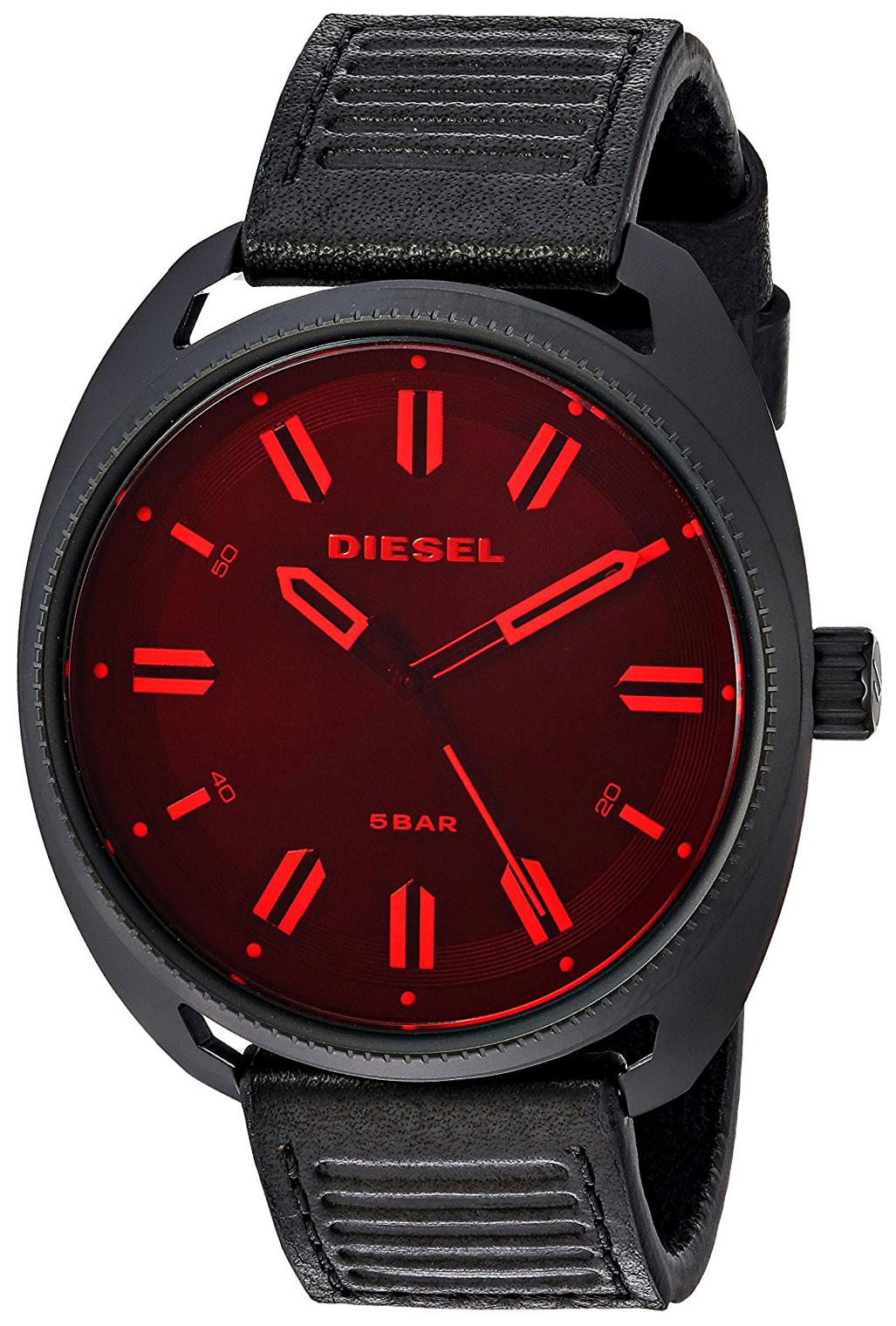 Diesel 99999 Herreklokke DZ1837 Sort/Lær Ø45 mm - Diesel