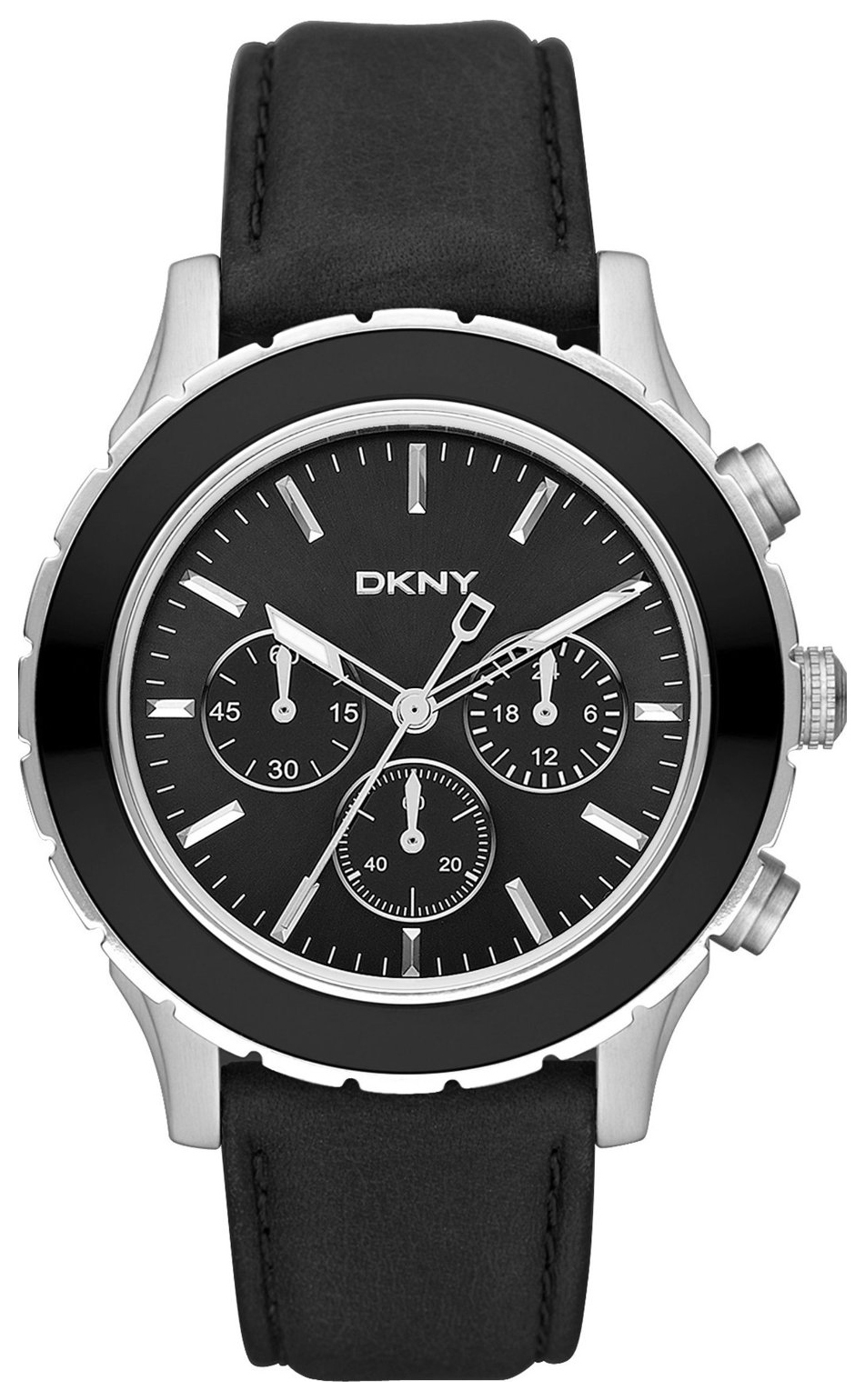 DKNY Brooklyn Herreklokke NY1515 Sort/Lær Ø45 mm - DKNY
