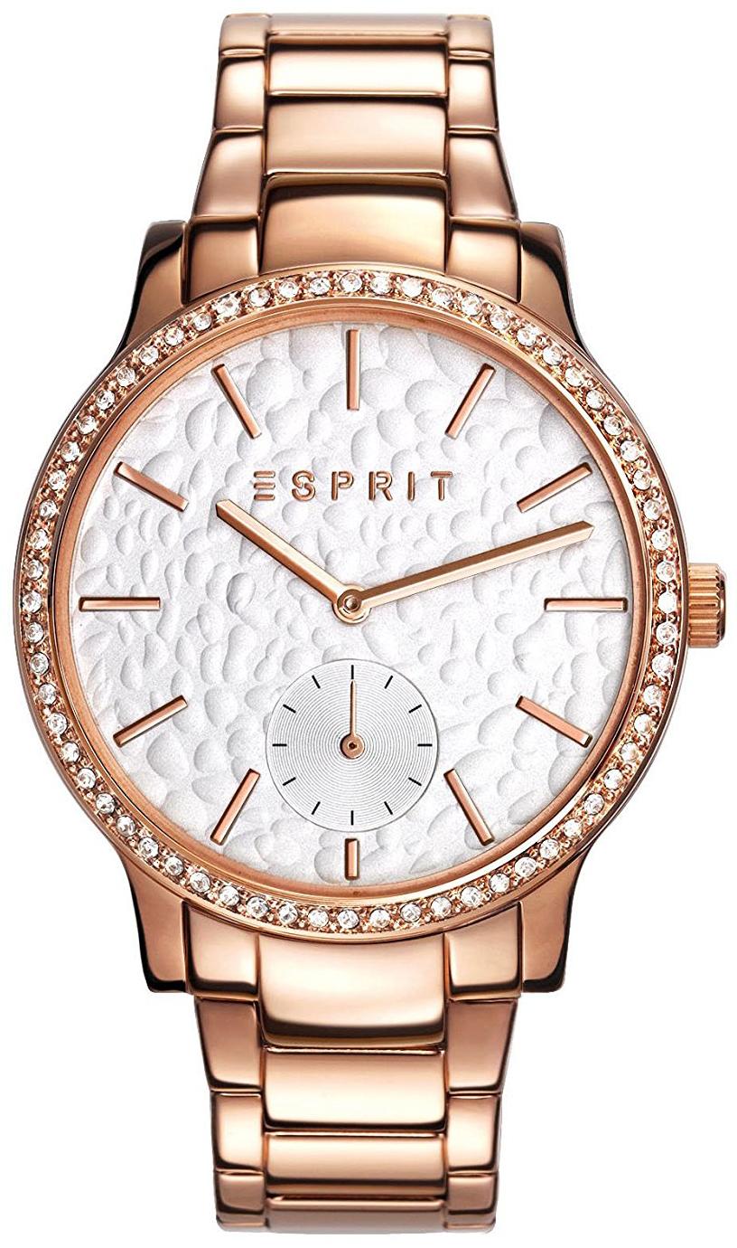 Esprit Dress Dameklokke ES108112005 Hvit/Rose-gulltonet stål Ø36 mm - Esprit