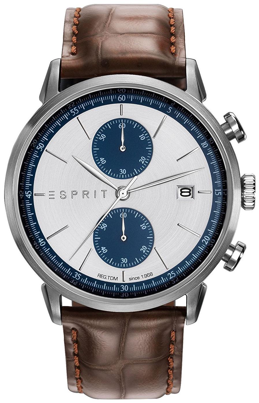 Esprit Sport Herreklokke ES109181001 Sølvfarget/Lær Ø45 mm - Esprit