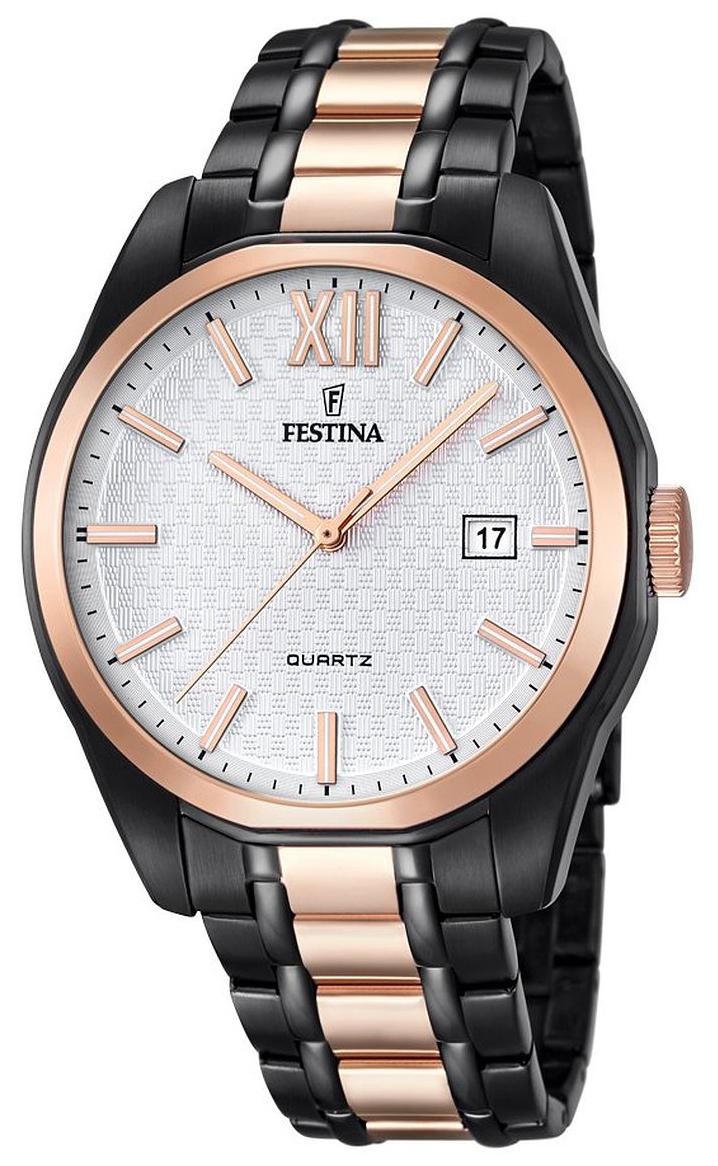 Festina Herreklokke F16853-1 Hvit/Rose-gulltonet stål Ø43 mm - Festina