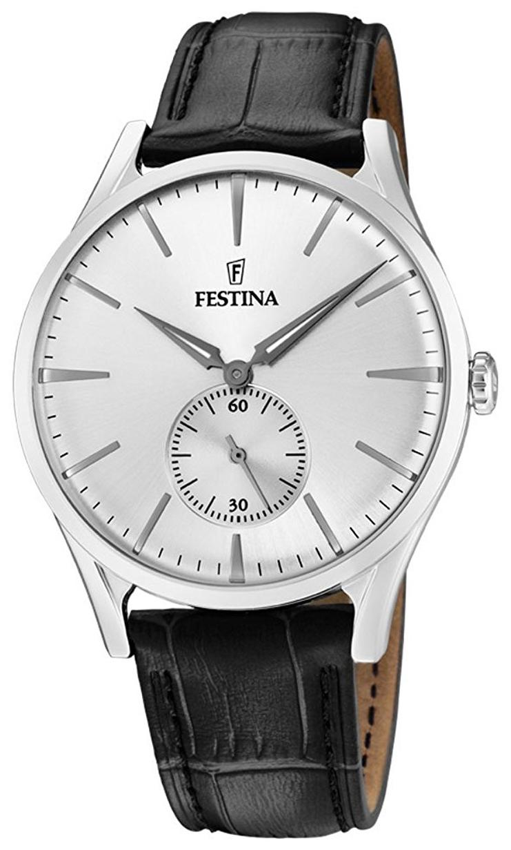Festina Herreklokke F16979-1 Sølvfarget/Lær Ø40 mm - Festina