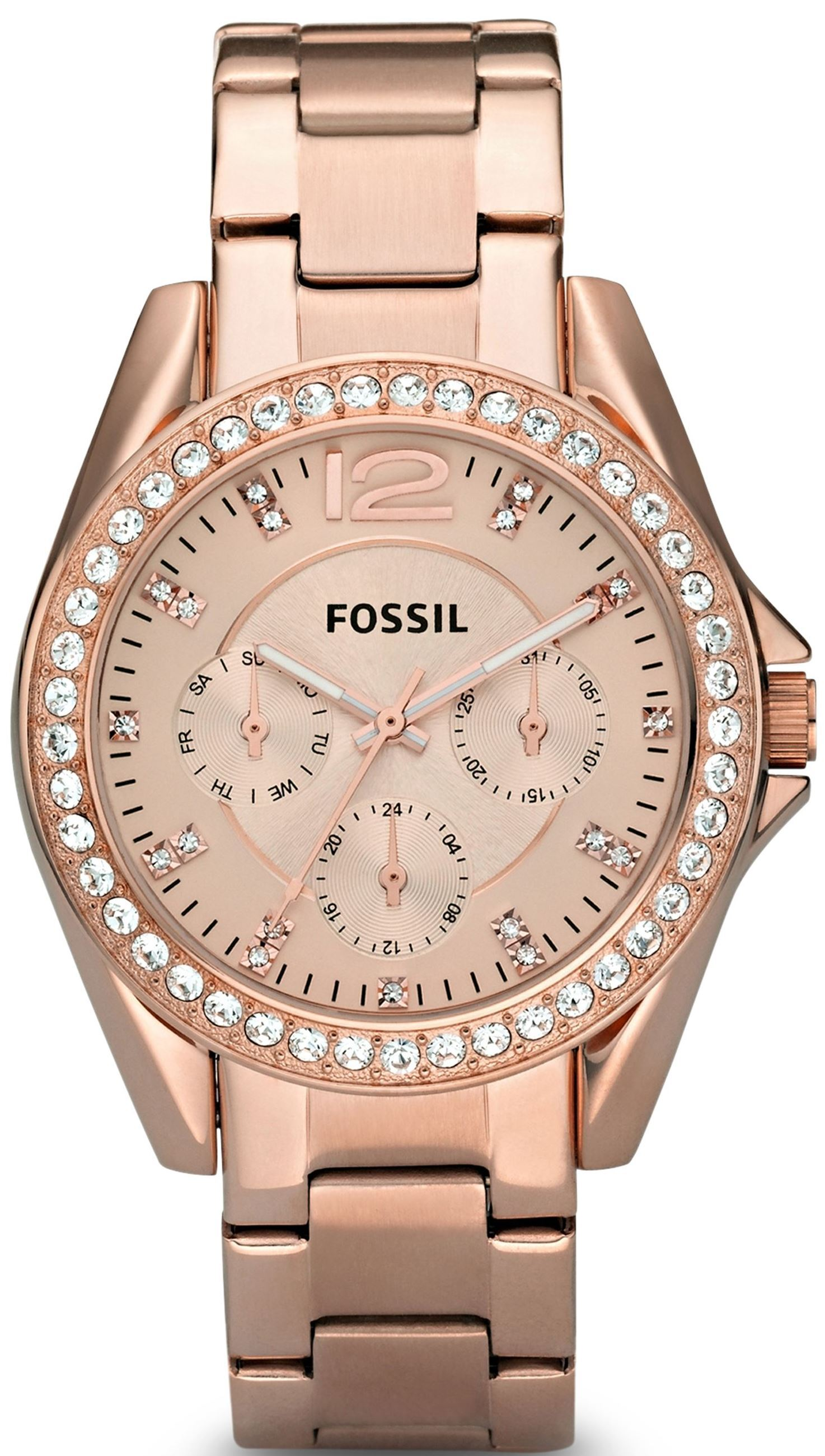 Fossil Riley Dameklokke ES2811 Rosegullfarget/Rose-gulltonet stål - Fossil