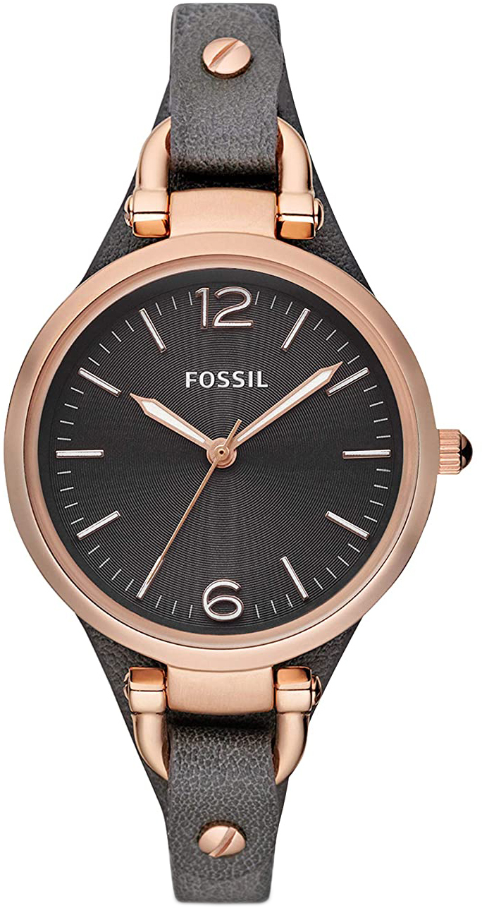 Fossil Georgia Dameklokke ES3077 Sort/Lær Ø32 mm - Fossil