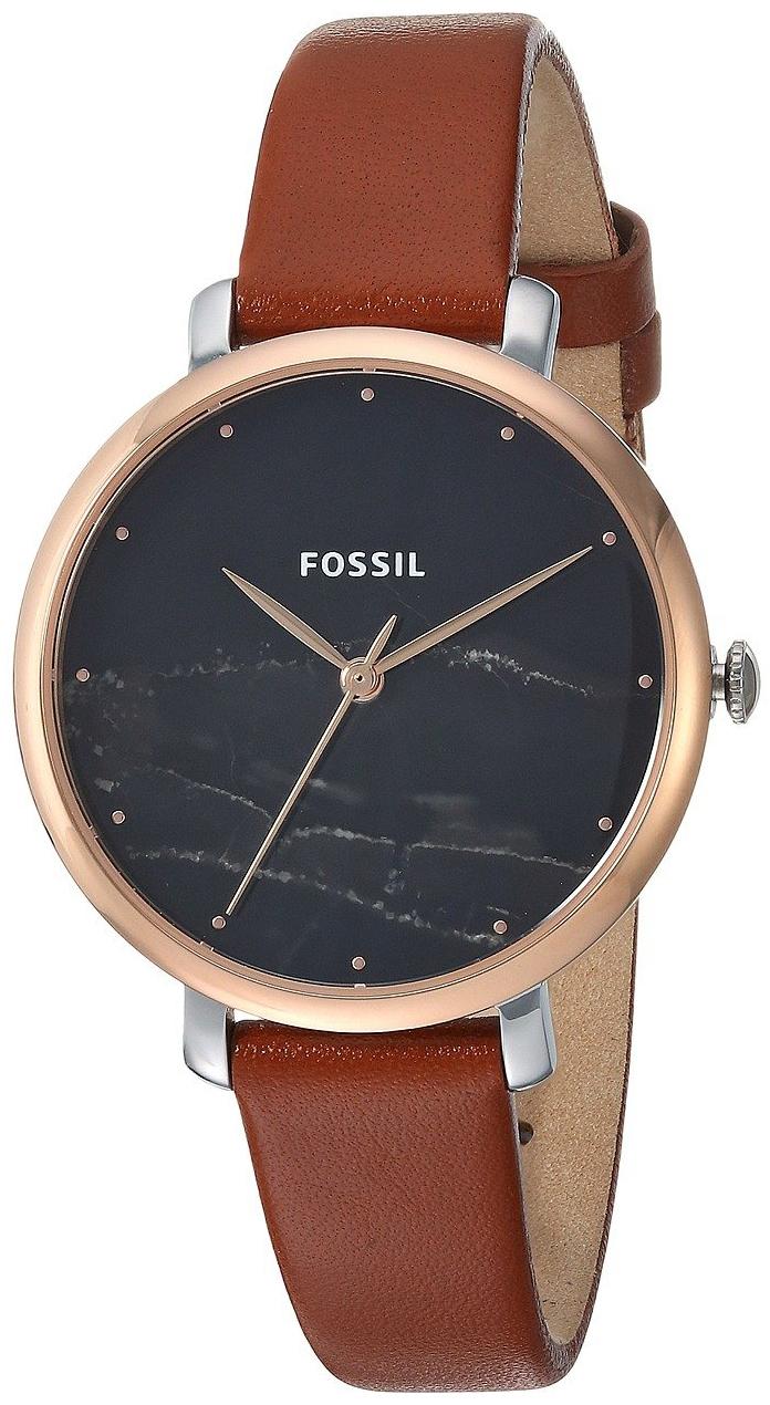 Fossil Jacqueline Dameklokke ES4378 Sort/Lær Ø36 mm - Fossil
