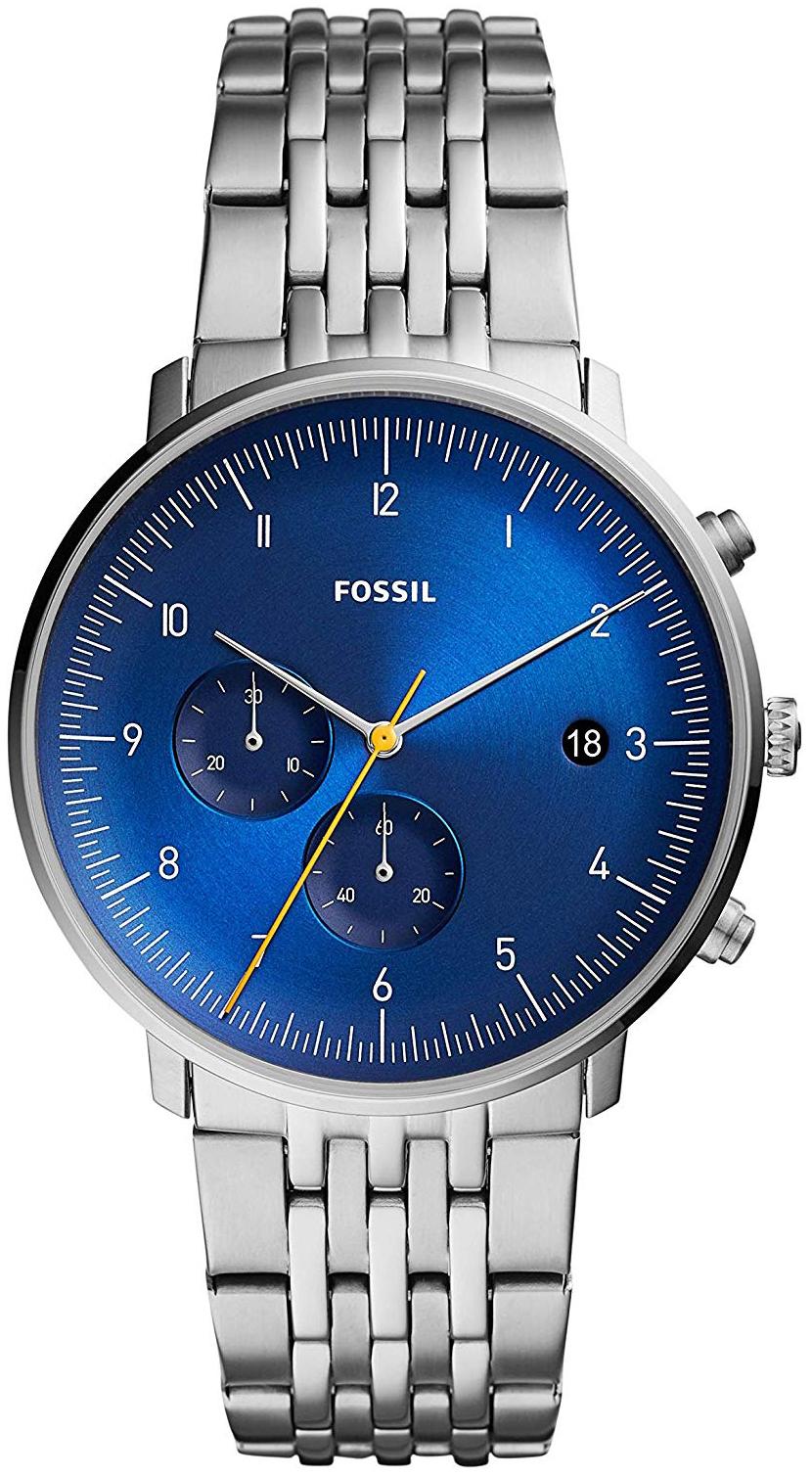 Fossil Chase Timer Herreklokke FS5542 Blå/Stål Ø42 mm - Fossil