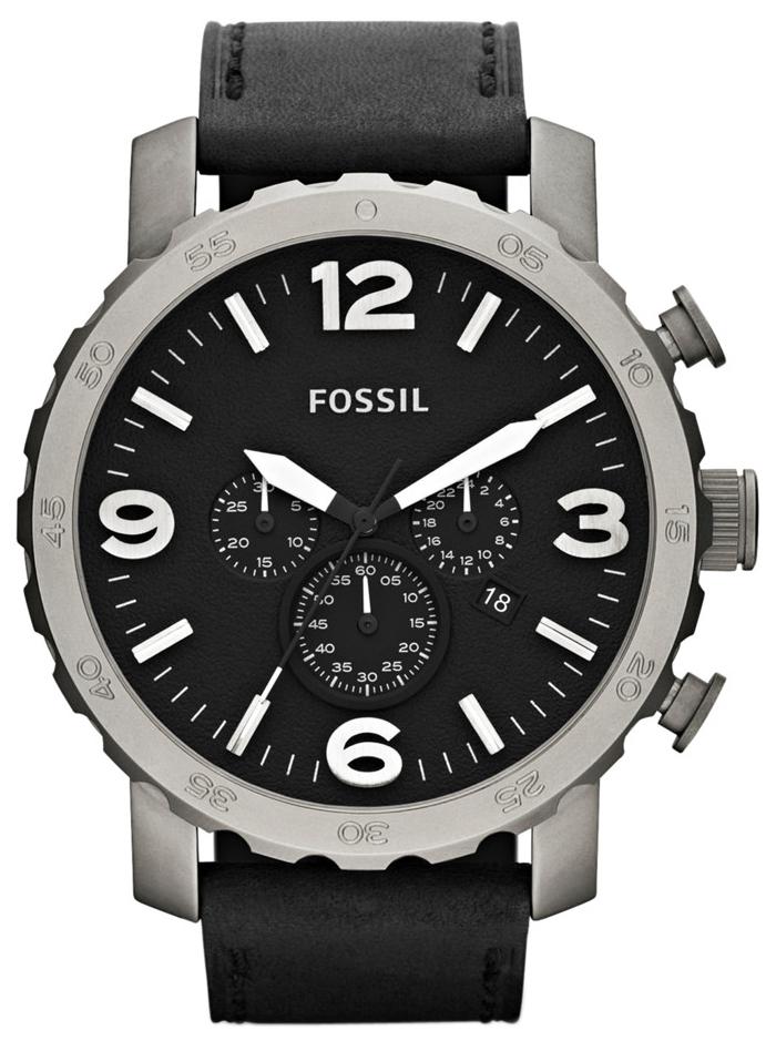 Fossil Nate Herreklokke TI1005 Sort/Lær Ø50 mm - Fossil