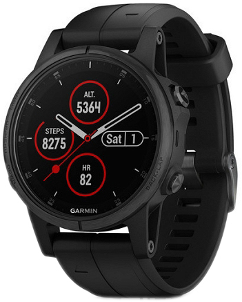 Garmin Fēnix 5S Plus 010-01987-03 Sort/Gummi Ø42 mm - Garmin