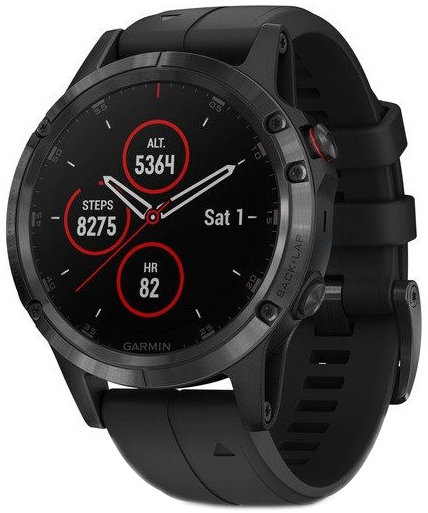 Garmin Fēnix 5 Plus Herreklokke 010-01988-01 Sort/Gummi Ø47 mm - Garmin