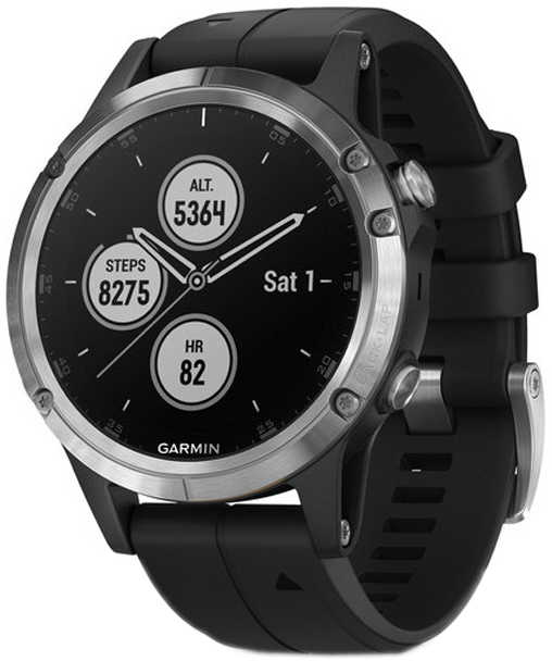 Garmin Fēnix 5 Plus Herreklokke 010-01988-11 Sort/Gummi Ø47 mm - Garmin