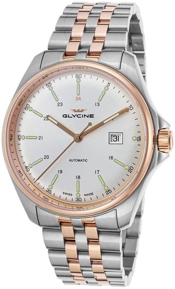 Glycine Combat Herreklokke GL0104 Sølvfarget/Rose-gulltonet stål - Glycine