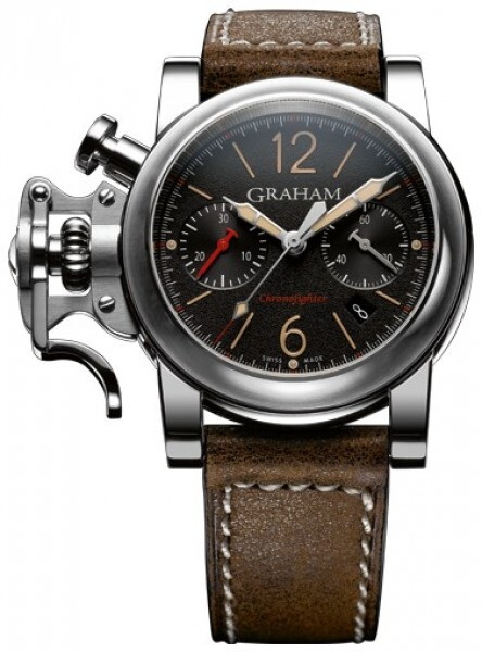 Graham Chronofighter Fortress Herreklokke 2CRBS.B10A Sort/Lær Ø43 mm - Graham