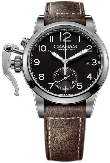 Graham Chronofighter Herreklokke 2CXAS.B01A Sort/Lær Ø42 mm - Graham