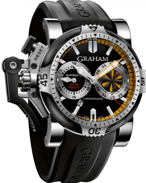 Graham Chronofighter Oversize Herreklokke 2OVEV.B15A Sort/Gummi Ø47 - Graham