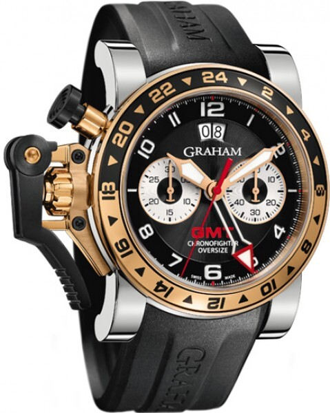Graham Chronofighter Oversize Herreklokke 2OVGG.B21A Sort/Gummi Ø47 - Graham