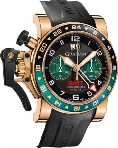 Graham Chronofighter Oversize Herreklokke 2OVGR.B16A Sort/Gummi Ø47 - Graham