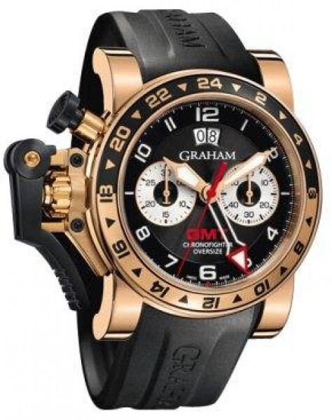 Graham Chronofighter Oversize Herreklokke 2OVGR.B21A Sort/Gummi Ø47 - Graham