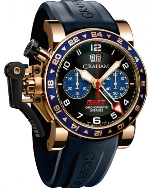 Graham Chronofighter Oversize Herreklokke 2OVGR.B26A Sort/Gummi Ø47 - Graham