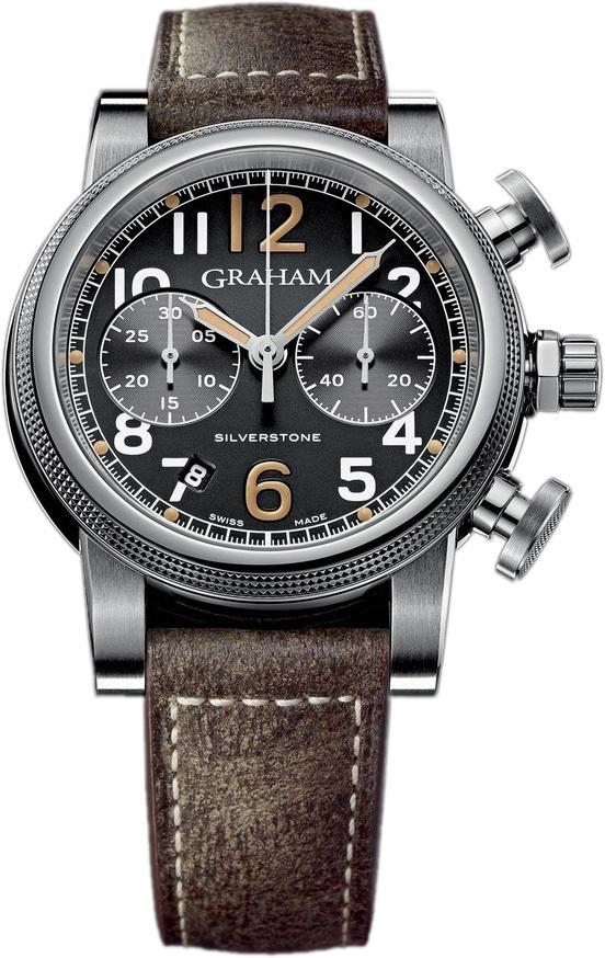 Graham Silverstone Herreklokke 2SABS.B05A Sort/Lær Ø44 mm - Graham