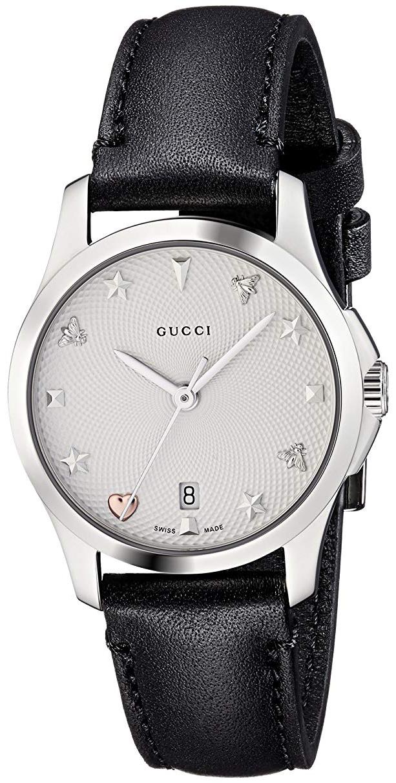 Gucci G-Timeless Dameklokke YA126574 Sølvfarget/Lær Ø27 mm - Gucci
