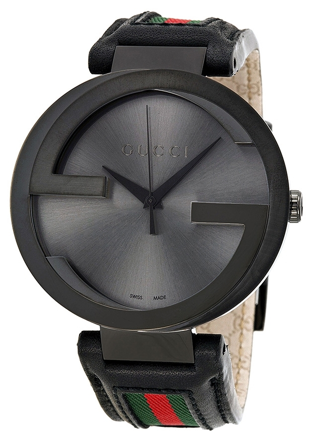 Gucci Interlocking Herreklokke YA133206 Sort/Lær Ø42 mm - Gucci
