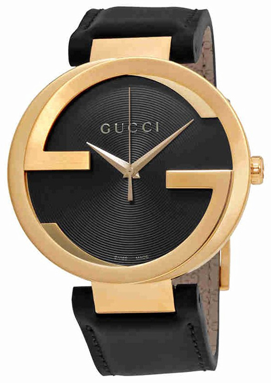 Gucci Interlocking Herreklokke YA133212 Sort/Lær Ø42 mm - Gucci