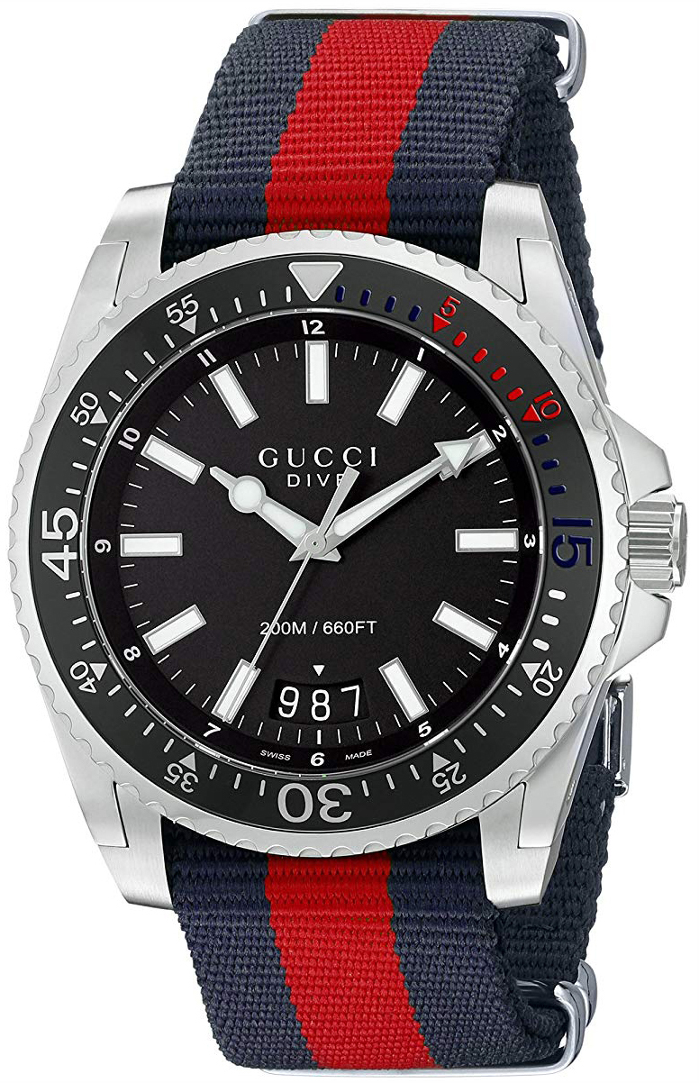 Gucci Dive Herreklokke YA136210 Sort/Tekstil Ø45 mm - Gucci
