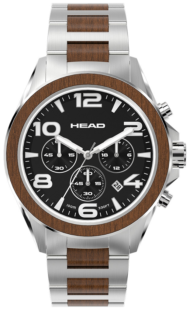 HEAD Heritage Herreklokke HE-001-01 Sort/Stål Ø44 mm - HEAD