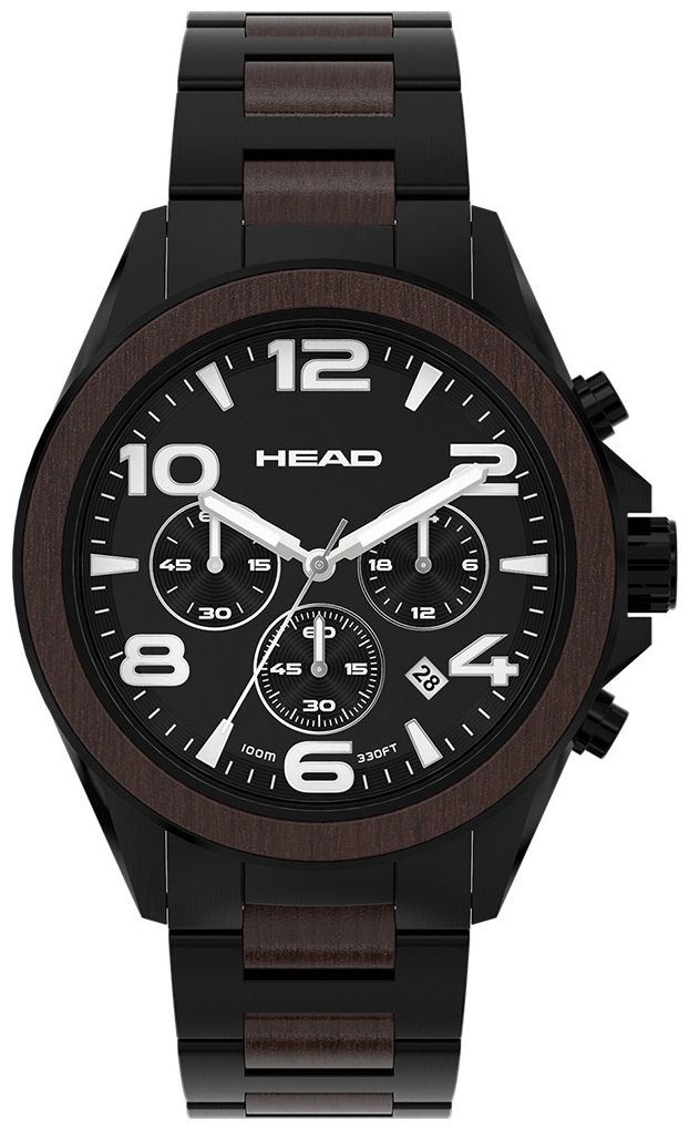 HEAD Heritage Herreklokke HE-001-04 Sort/Stål Ø44 mm - HEAD