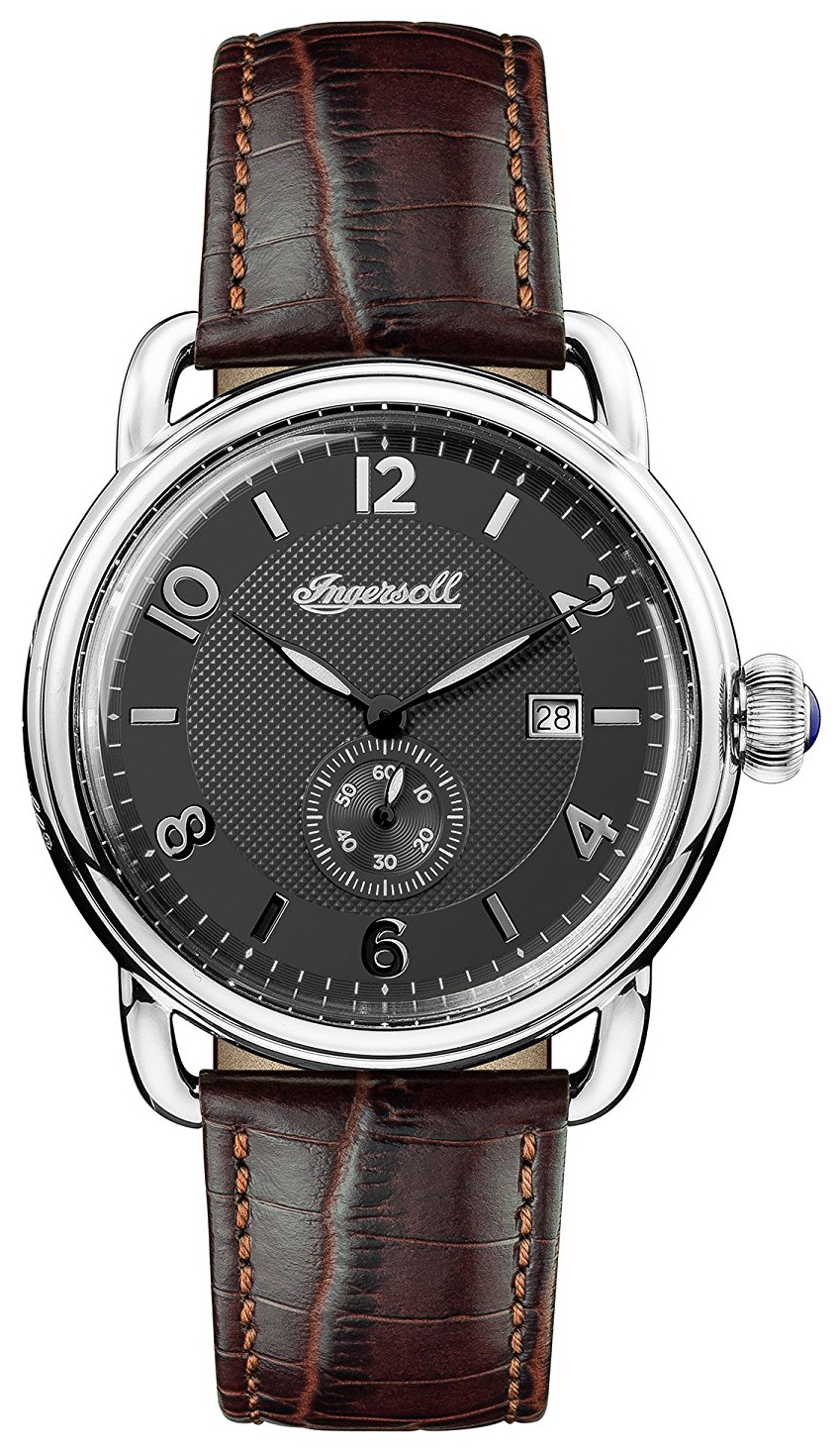 Ingersoll The New England Herreklokke I00801 Sort/Lær Ø44 mm - Ingersoll