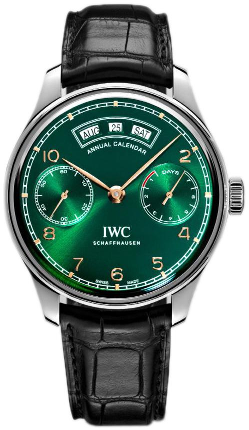 IWC Portuguese Herreklokke IW503510 Grønn/Lær Ø44.2 mm - IWC