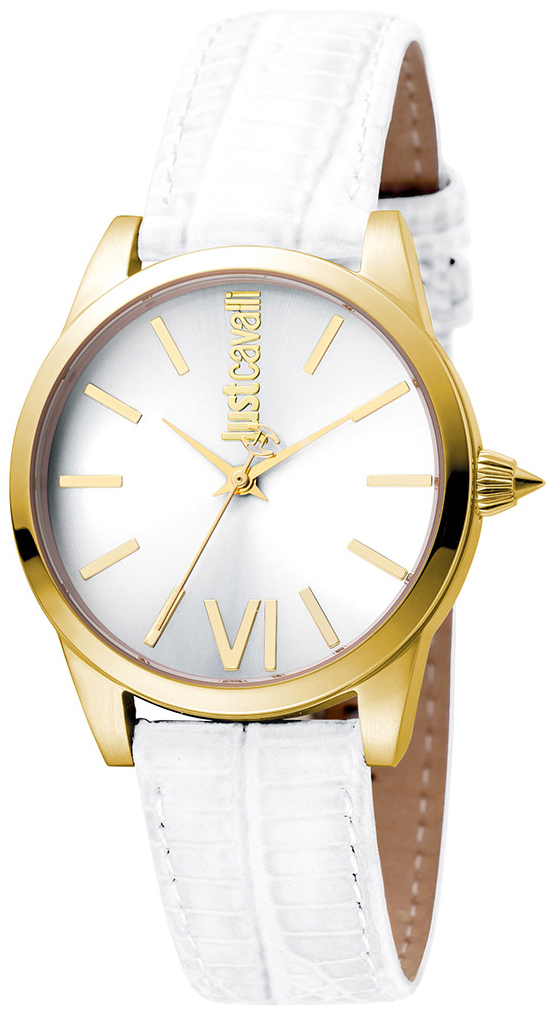 Just Cavalli Relaxed Dameklokke JC1L010L0055 Sølvfarget/Lær Ø32 mm - Just Cavalli