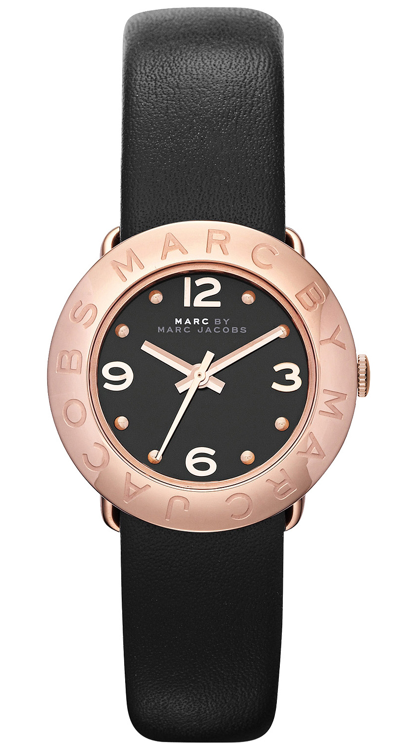 Marc by Marc Jacobs Amy Dameklokke MBM1227 Sort/Lær Ø26 mm - Marc by Marc Jacobs